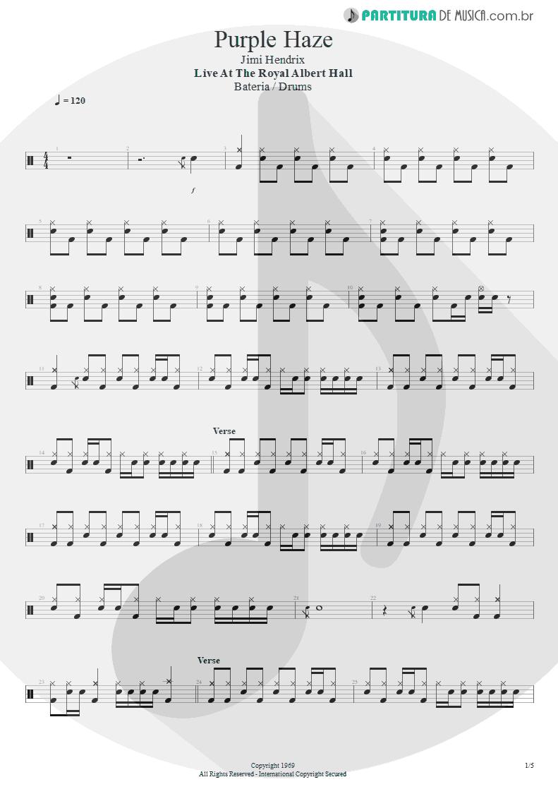 Partitura de musica de Bateria - Purple Haze   Jimi Hendrix   Live at the Royal Albert Hall 1969 - pag 1