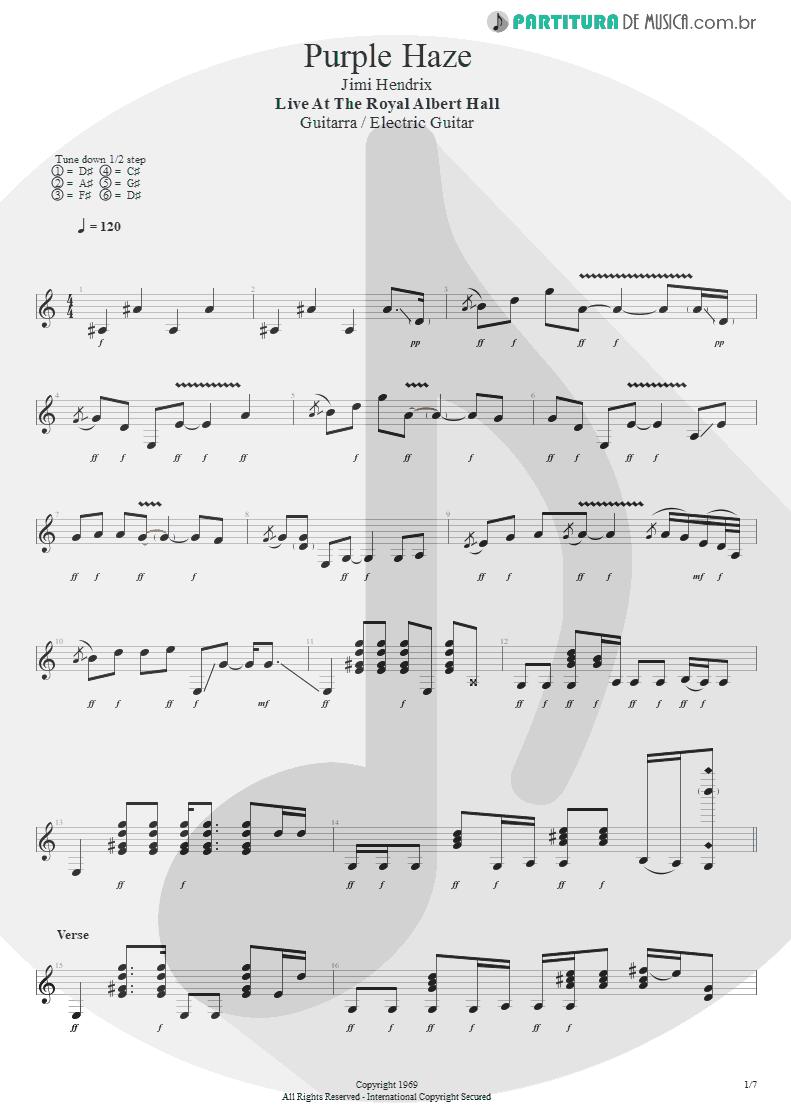 Partitura de musica de Guitarra Elétrica - Purple Haze | Jimi Hendrix | Live at the Royal Albert Hall 1969 - pag 1
