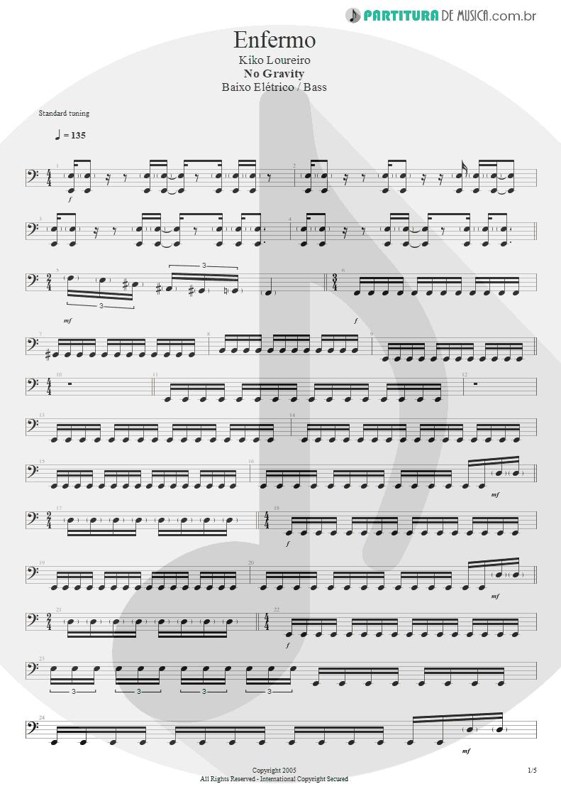 Partitura de musica de Baixo Elétrico - Enfermo   Kiko Loureiro   No Gravity 2005 - pag 1