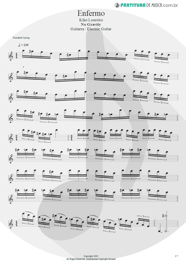 Partitura de musica de Guitarra Elétrica - Enfermo   Kiko Loureiro   No Gravity 2005 - pag 1