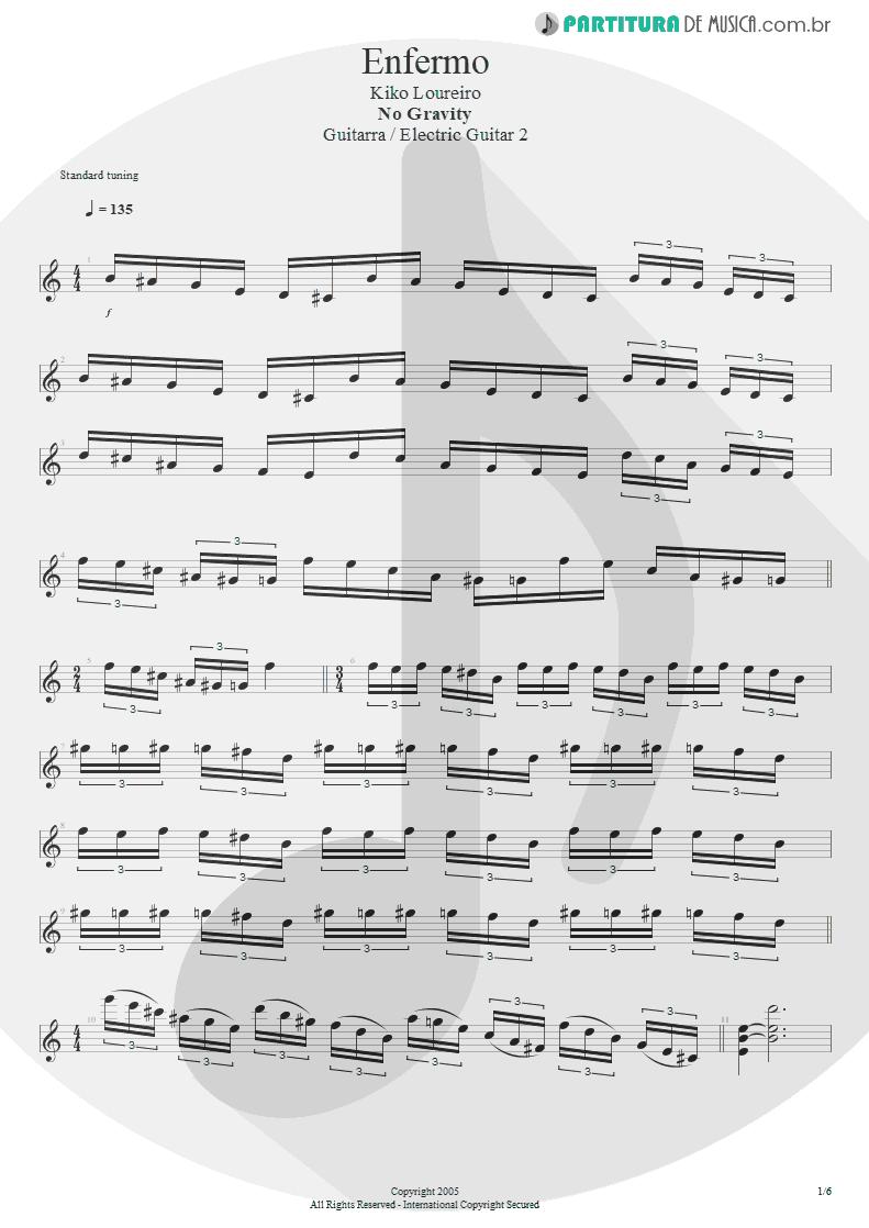 Partitura de musica de Guitarra Elétrica - Enfermo | Kiko Loureiro | No Gravity 2005 - pag 1