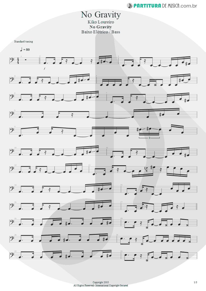 Partitura de musica de Baixo Elétrico - No Gravity | Kiko Loureiro | No Gravity 2005 - pag 1