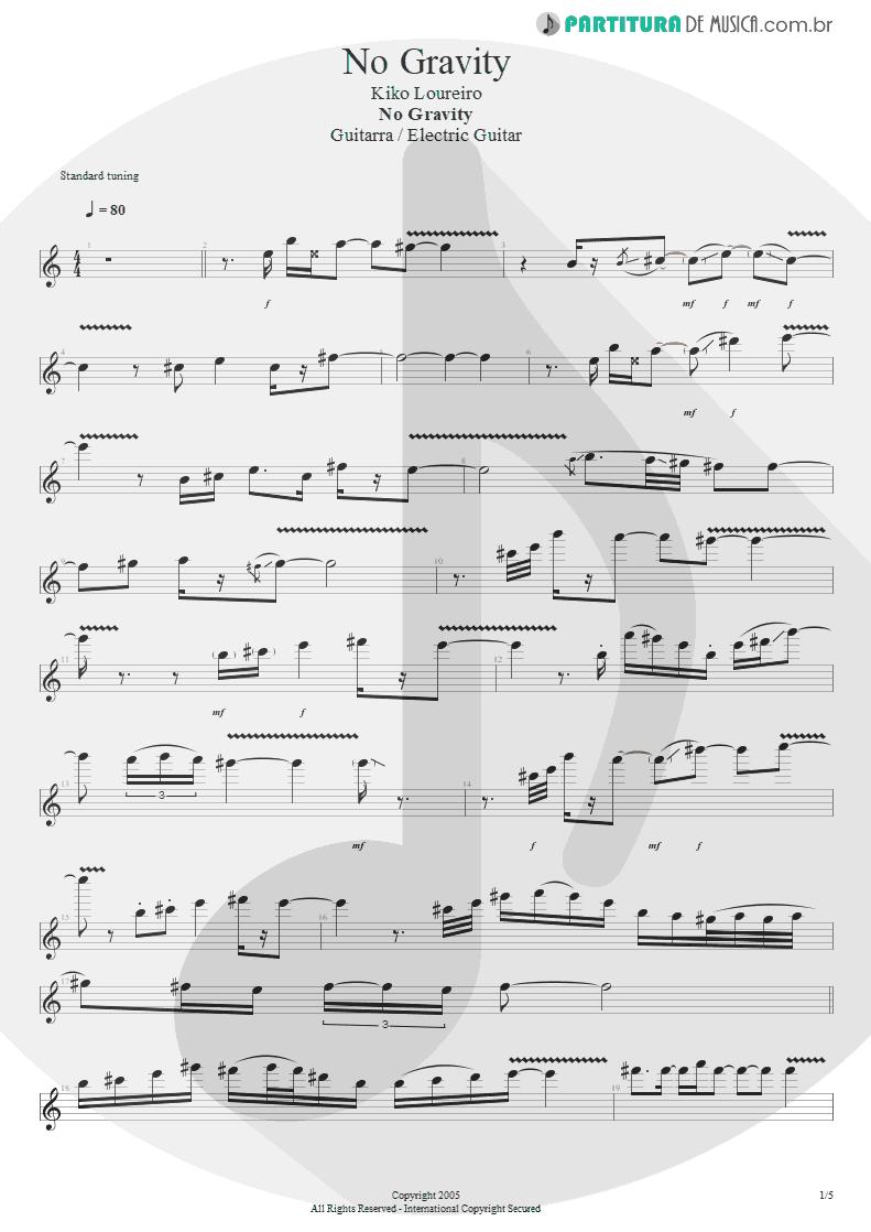 Partitura de musica de Guitarra Elétrica - No Gravity | Kiko Loureiro | No Gravity 2005 - pag 1