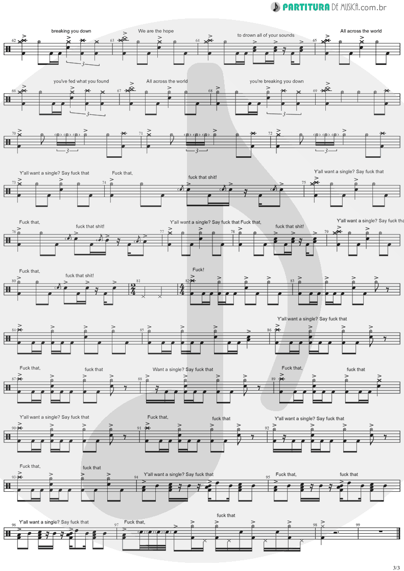 Partitura de musica de Bateria - You All Want A Single   Korn   Take A Look In The Mirror 2003 - pag 3