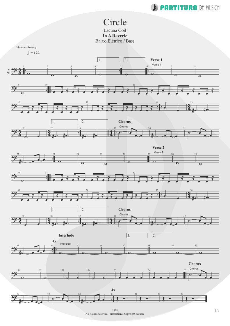 Partitura de musica de Baixo Elétrico - Circle | Lacuna Coil | In A Reverie 1999 - pag 1