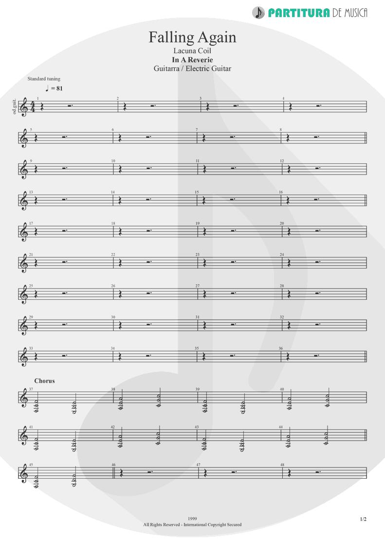 Partitura de musica de Guitarra Elétrica - Falling Again | Lacuna Coil | In A Reverie 1999 - pag 1
