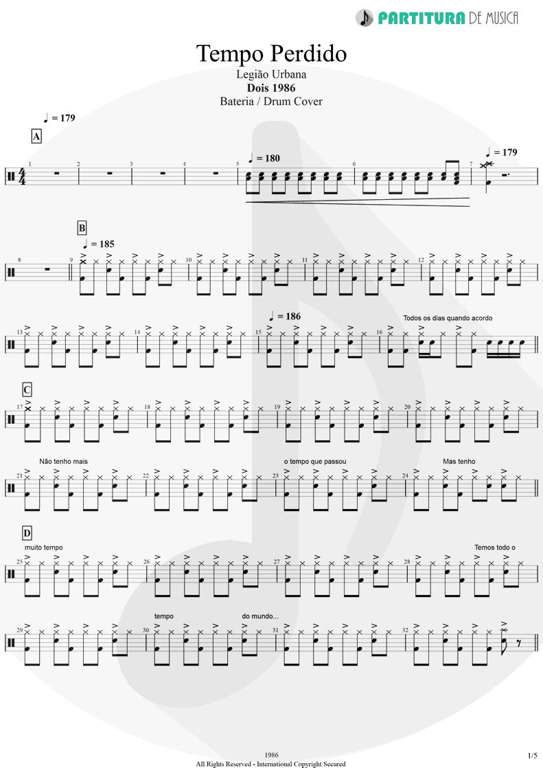 Partitura de musica de Bateria - Tempo Perdido | Legião Urbana | Dois 1986 - pag 1