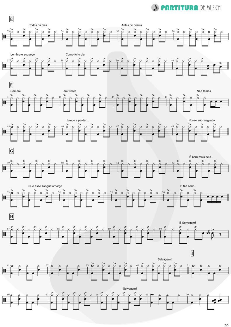 Partitura de musica de Bateria - Tempo Perdido | Legião Urbana | Dois 1986 - pag 2