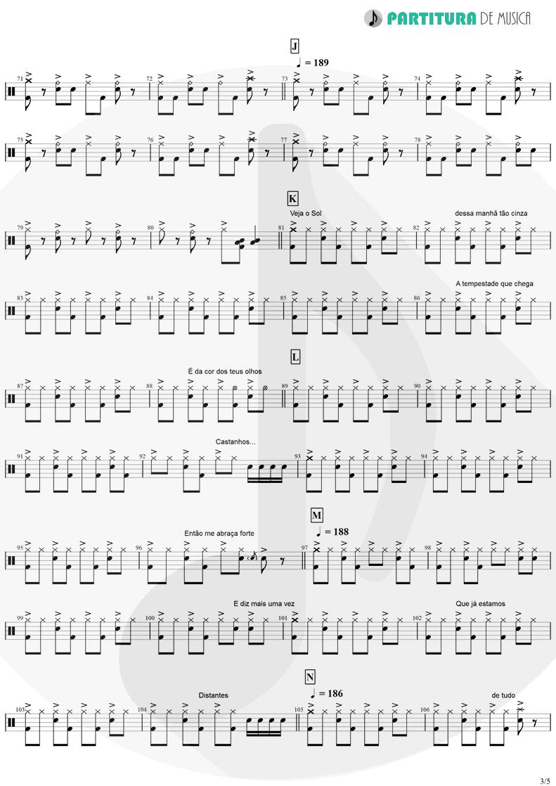 Partitura de musica de Bateria - Tempo Perdido | Legião Urbana | Dois 1986 - pag 3