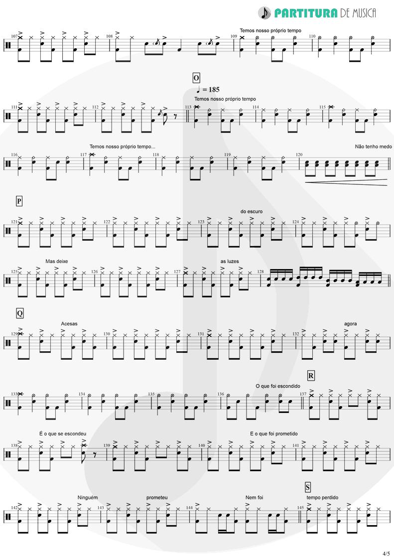 Partitura de musica de Bateria - Tempo Perdido | Legião Urbana | Dois 1986 - pag 4