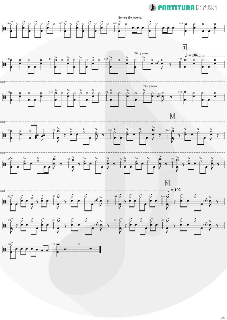 Partitura de musica de Bateria - Tempo Perdido | Legião Urbana | Dois 1986 - pag 5
