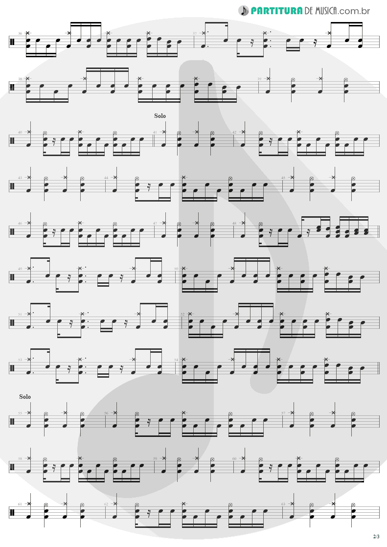 Partitura de musica de Bateria - Fields Of Joy | Lenny Kravitz | Mama Said 1991 - pag 2