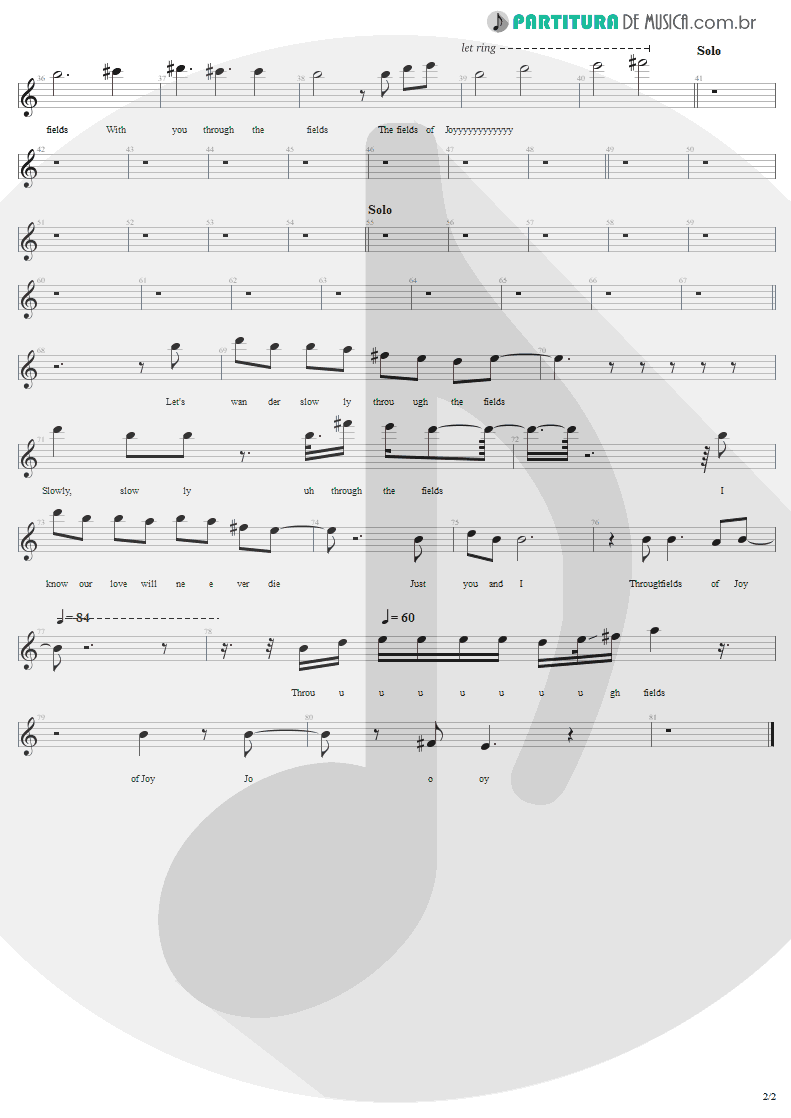 Partitura de musica de Canto - Fields Of Joy | Lenny Kravitz | Mama Said 1991 - pag 2