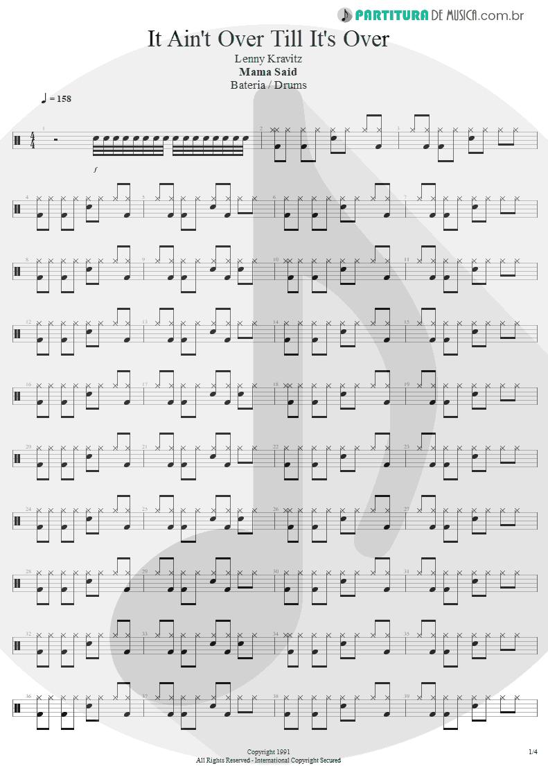 Partitura de musica de Bateria - It Ain't Over Till It's Over   Lenny Kravitz   Mama Said 1991 - pag 1