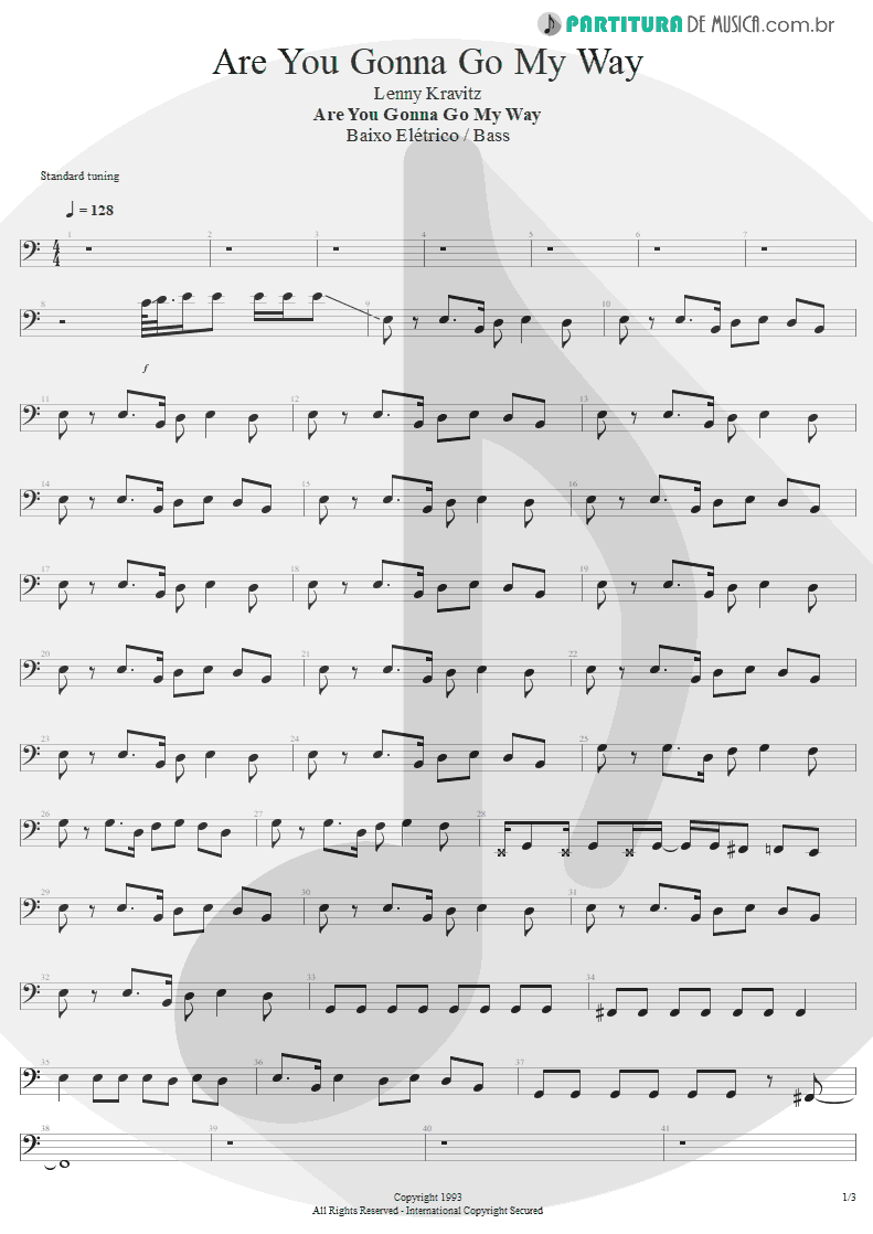 Partitura de musica de Baixo Elétrico - Are You Gonna Go My Way | Lenny Kravitz | Are You Gonna Go My Way 1993 - pag 1