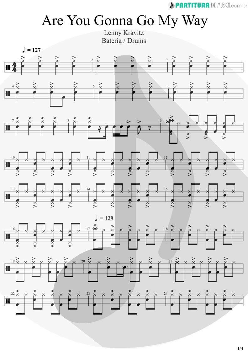 Partitura de musica de Bateria - Are You Gonna Go My Way | Lenny Kravitz | Are You Gonna Go My Way 1993 - pag 1