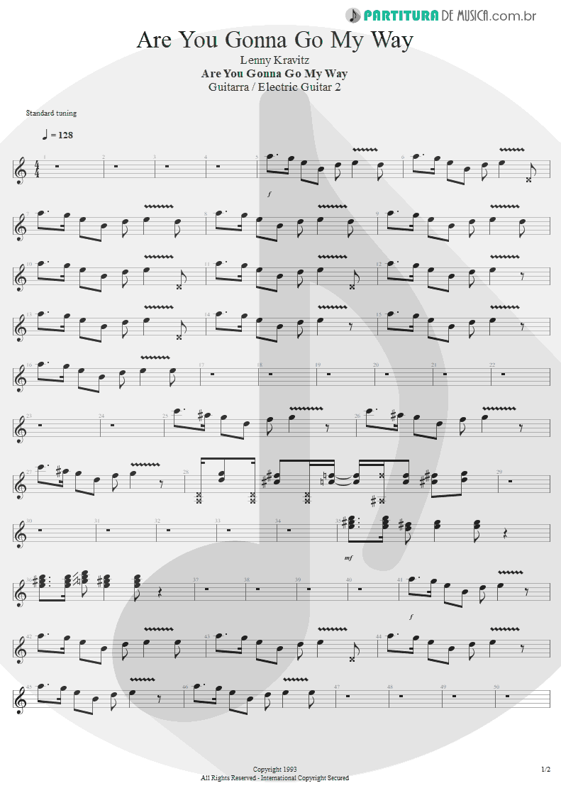 Partitura de musica de Guitarra Elétrica - Are You Gonna Go My Way | Lenny Kravitz | Are You Gonna Go My Way 1993 - pag 1