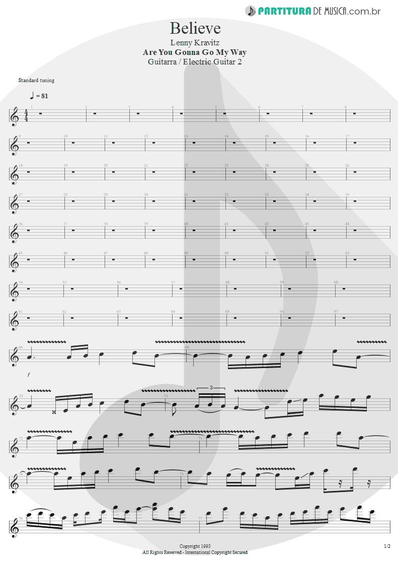 Partitura de musica de Guitarra Elétrica - Believe   Lenny Kravitz   Are You Gonna Go My Way 1993 - pag 1