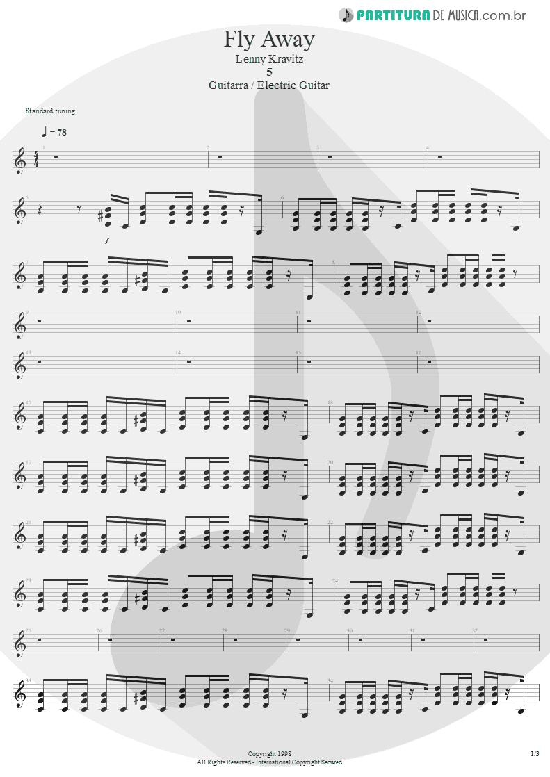 Partitura de musica de Guitarra Elétrica - Fly Away | Lenny Kravitz | 5 1998 - pag 1