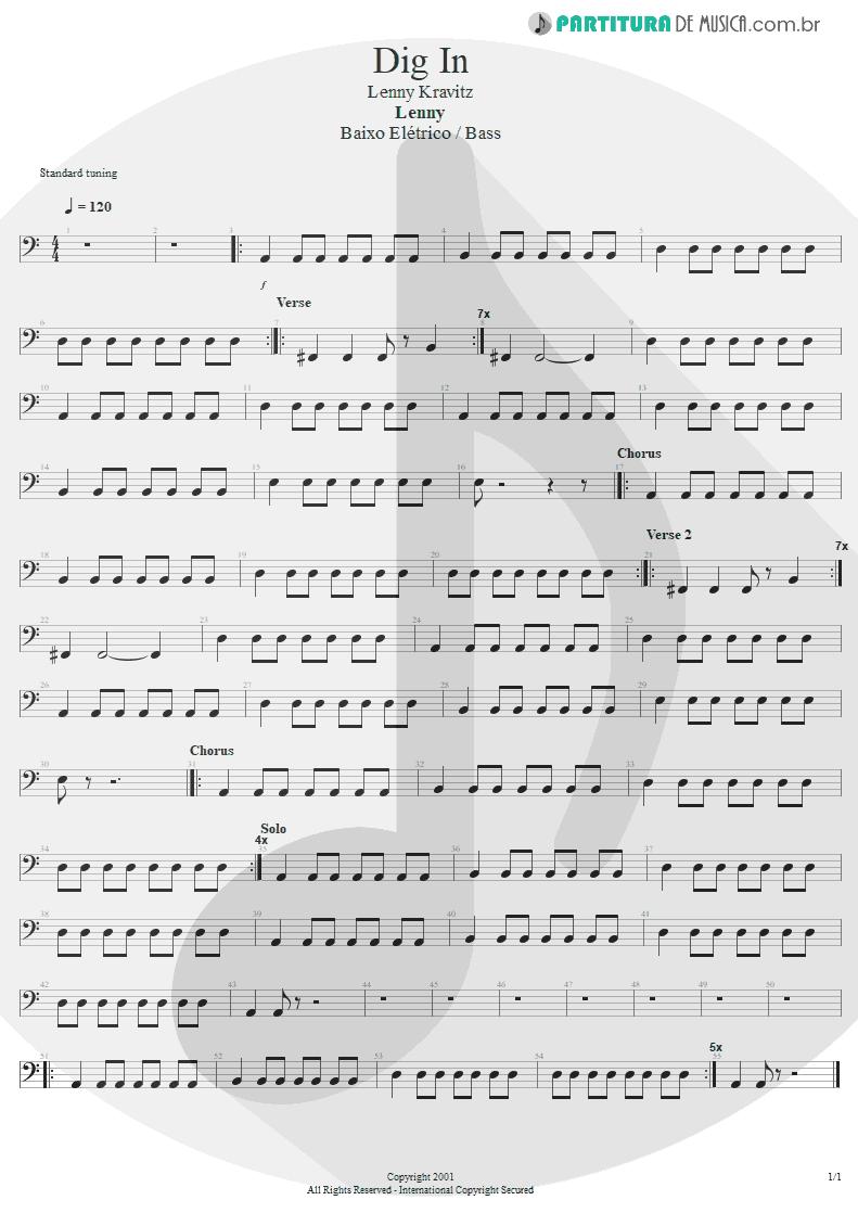 Partitura de musica de Baixo Elétrico - Dig In | Lenny Kravitz | Lenny 2001 - pag 1