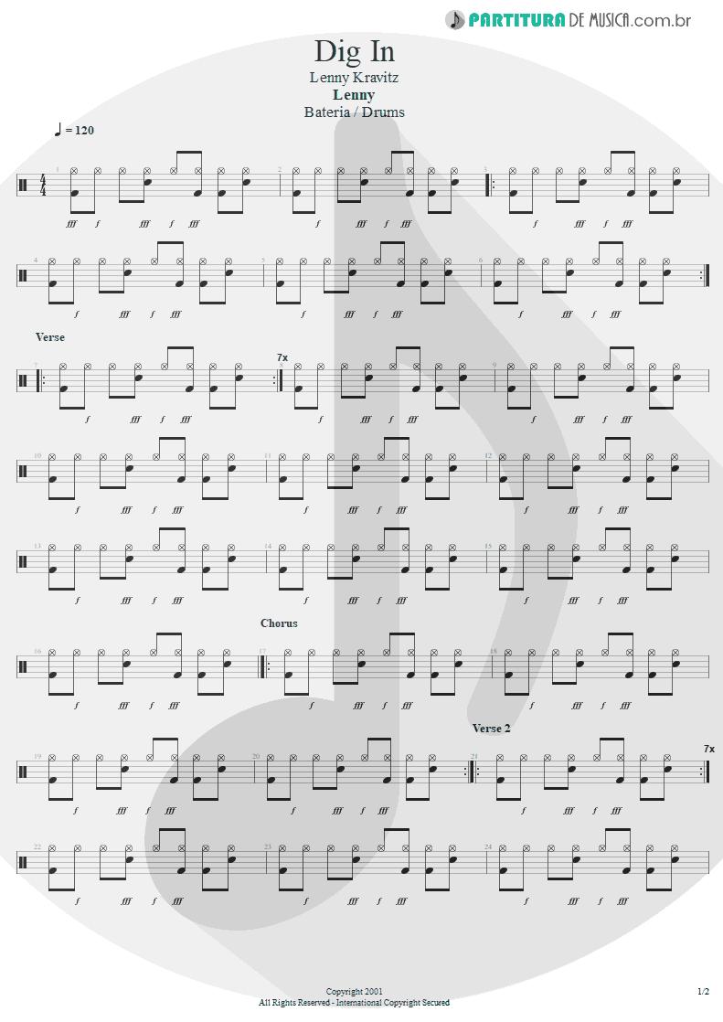 Partitura de musica de Bateria - Dig In | Lenny Kravitz | Lenny 2001 - pag 1