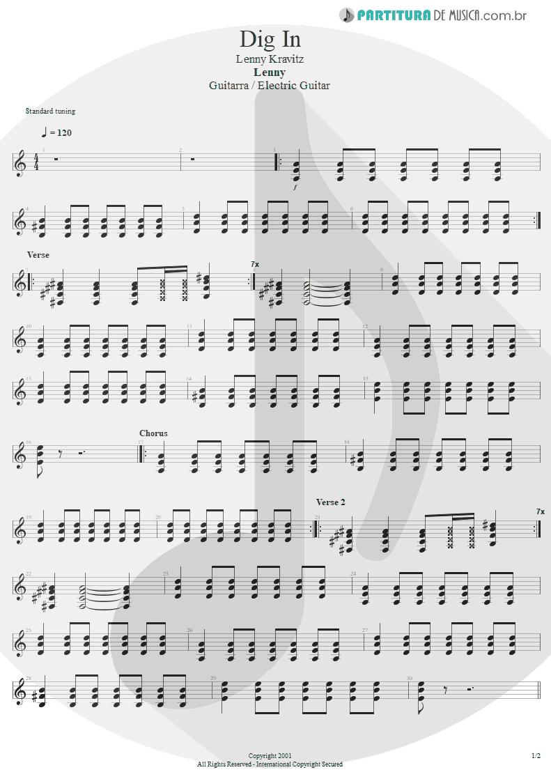 Partitura de musica de Guitarra Elétrica - Dig In | Lenny Kravitz | Lenny 2001 - pag 1