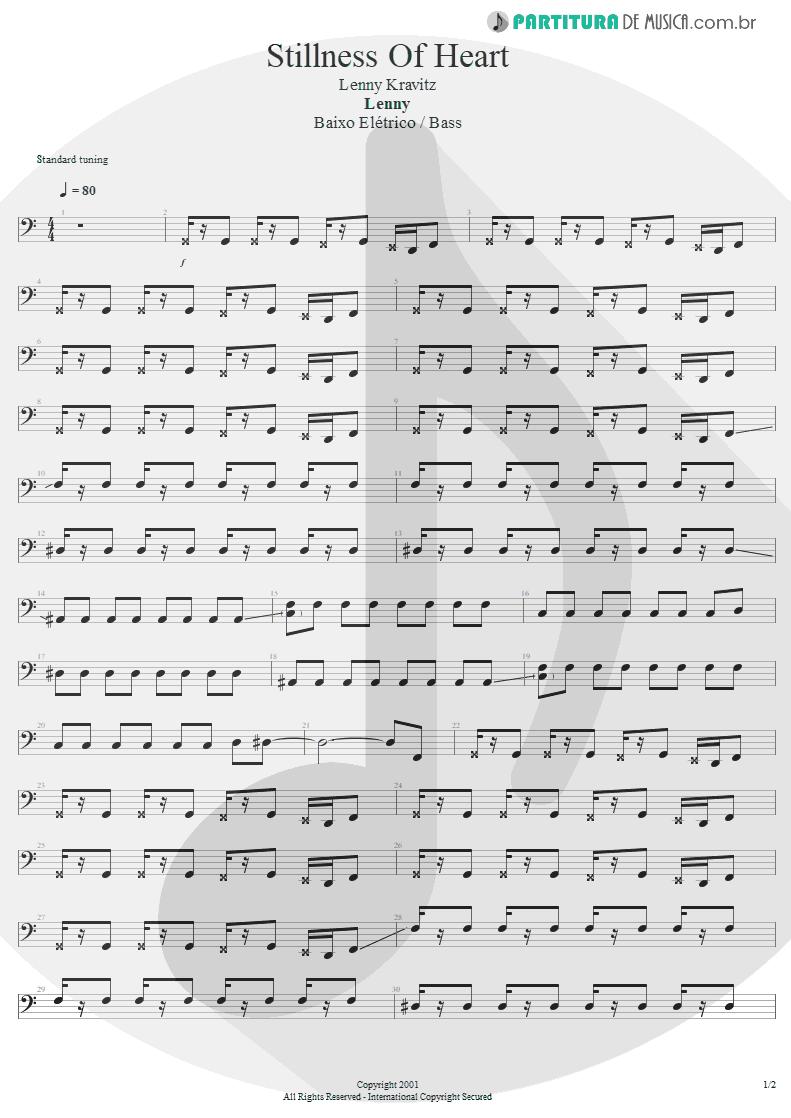 Partitura de musica de Baixo Elétrico - Stillness Of Heart | Lenny Kravitz | Lenny 2001 - pag 1