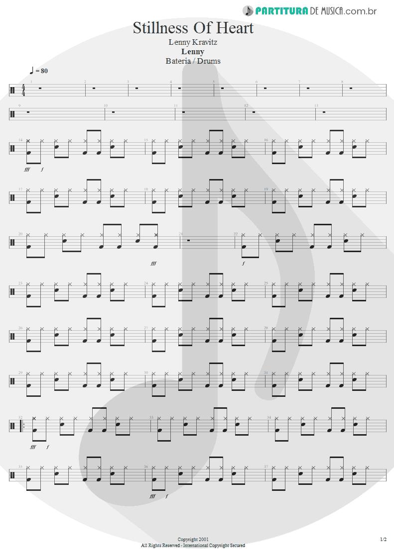Partitura de musica de Bateria - Stillness Of Heart | Lenny Kravitz | Lenny 2001 - pag 1