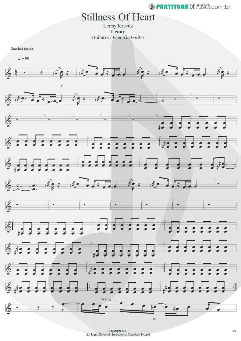 Partitura de musica de Guitarra Elétrica - Stillness Of Heart | Lenny Kravitz | Lenny 2001 - pag 1
