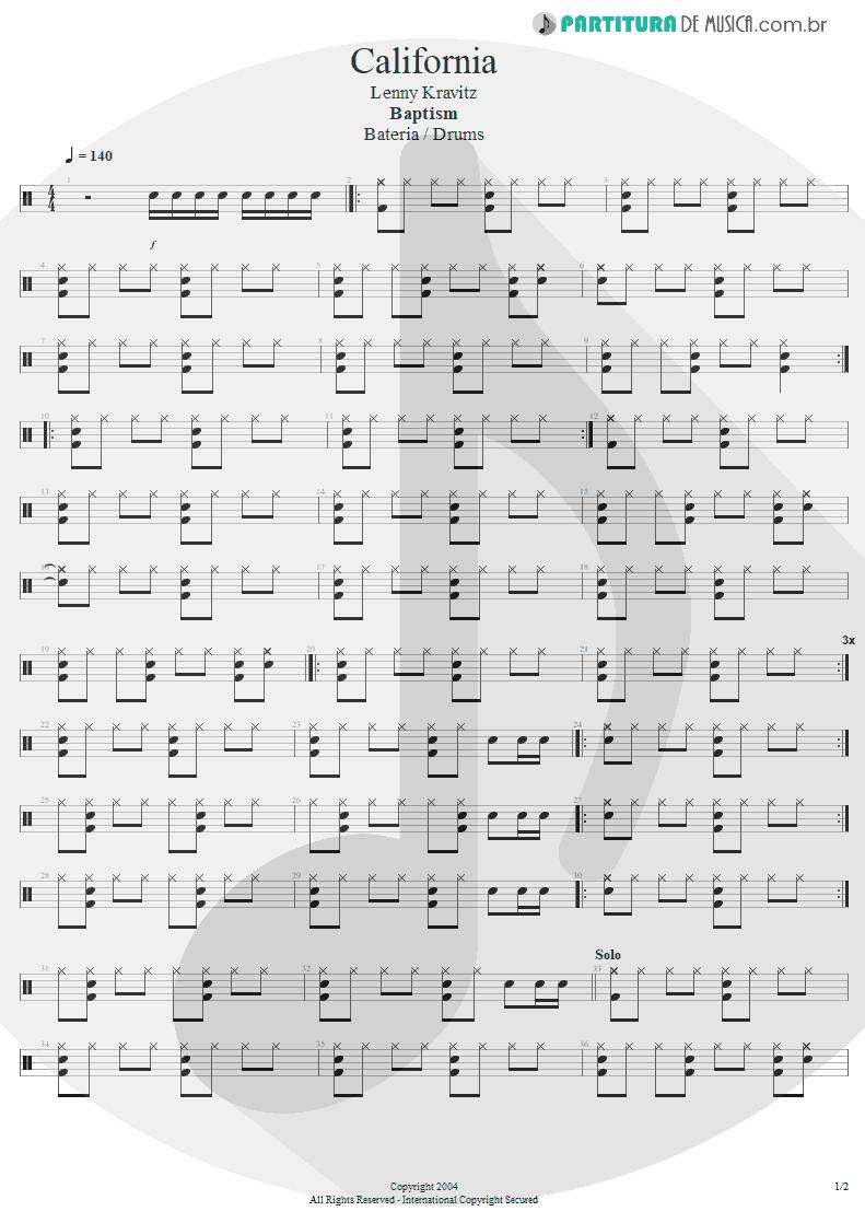 Partitura de musica de Bateria - California | Lenny Kravitz | Baptism 2004 - pag 1