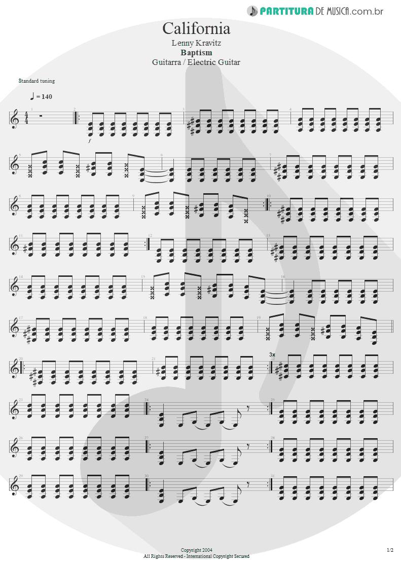Partitura de musica de Guitarra Elétrica - California | Lenny Kravitz | Baptism 2004 - pag 1