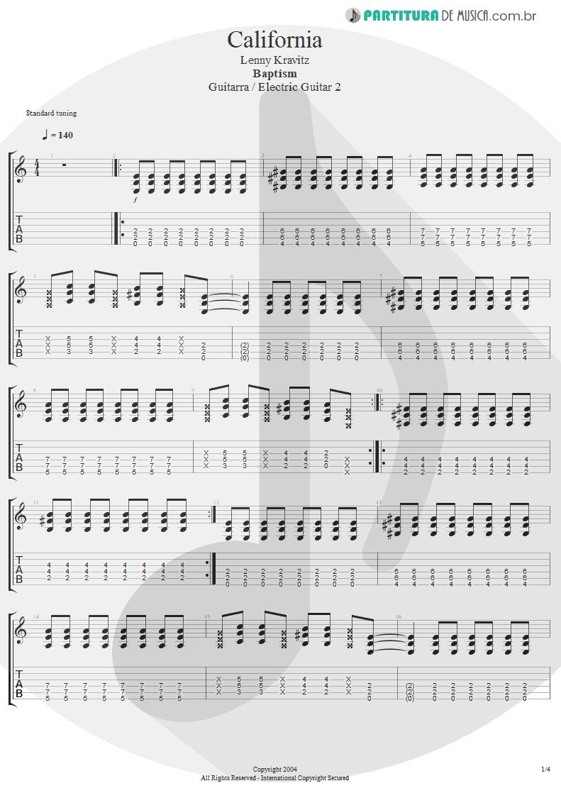 Tablatura + Partitura de musica de Guitarra Elétrica - California | Lenny Kravitz | Baptism 2004 - pag 1