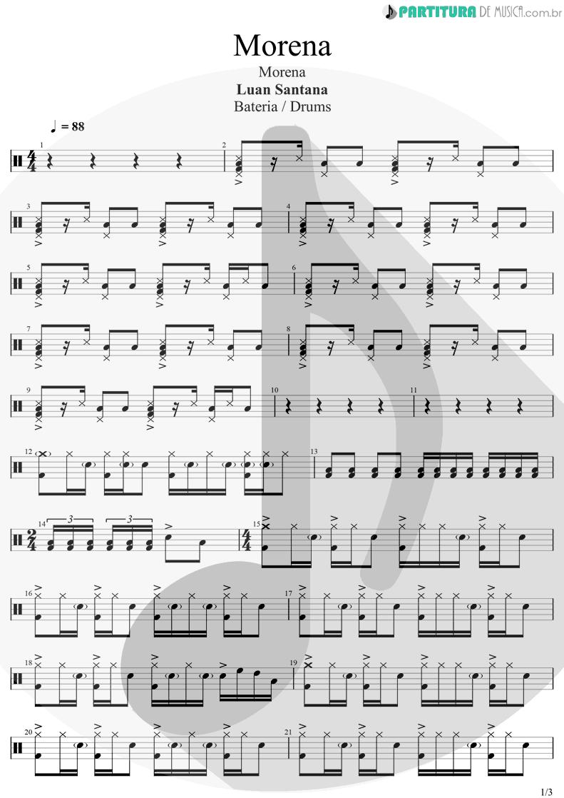 Partitura de musica de Bateria - Morena | Luan Santana | Morena 2021 - pag 1