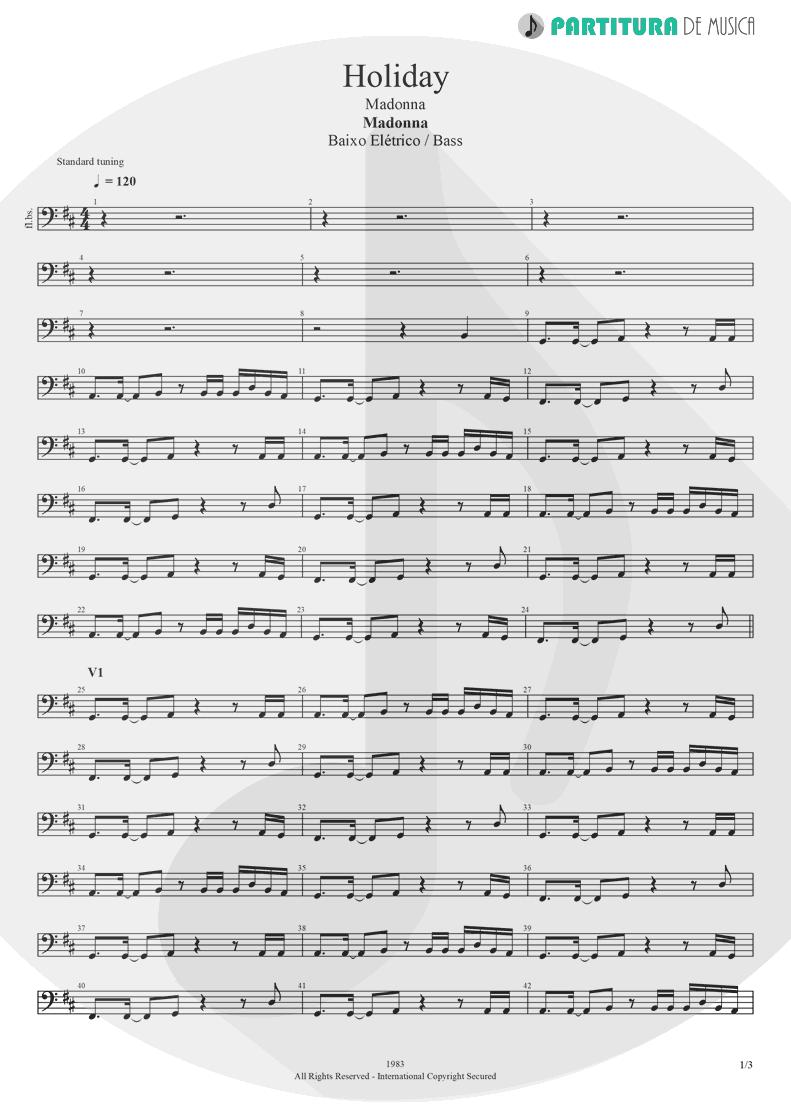 Partitura de musica de Baixo Elétrico - Holiday | Madonna | Madonna 1983 - pag 1