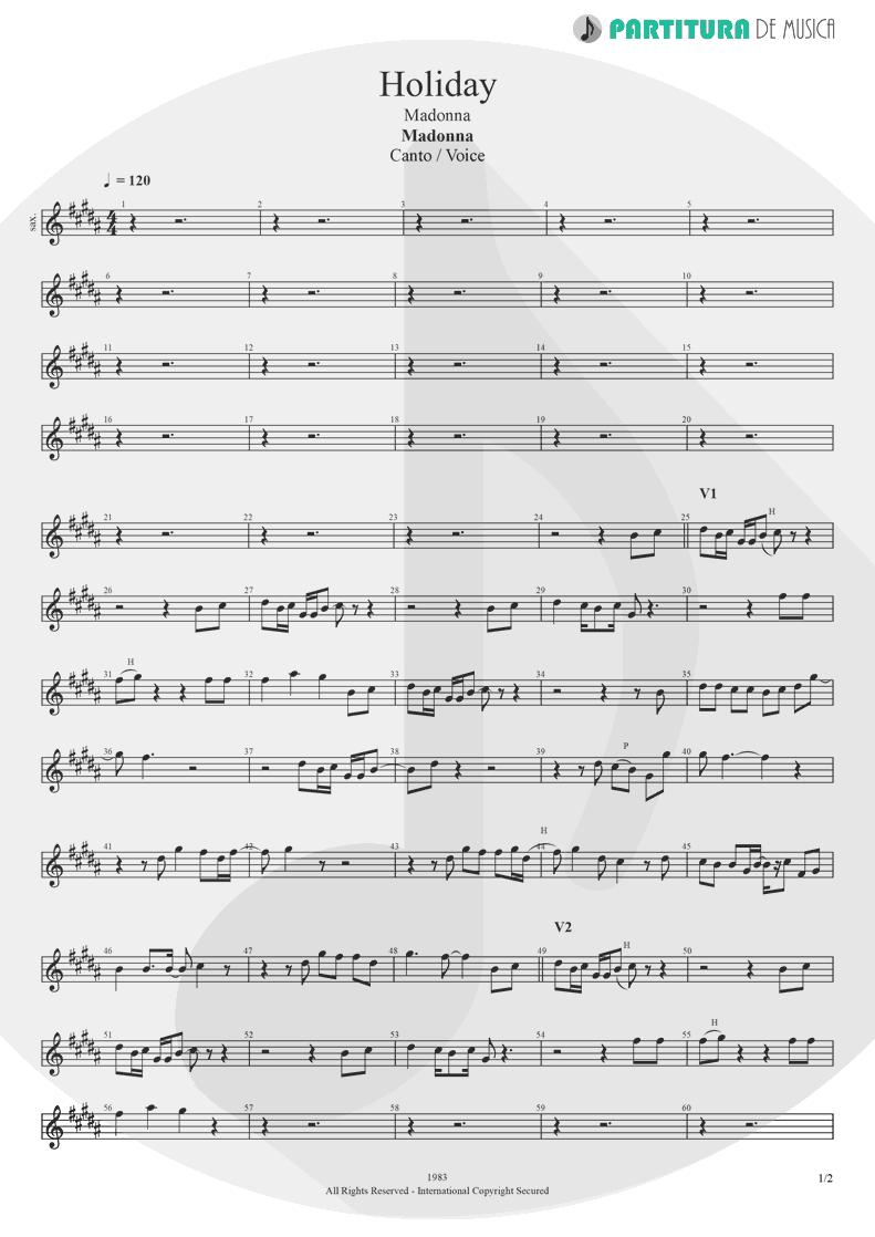 Partitura de musica de Canto - Holiday | Madonna | Madonna 1983 - pag 1