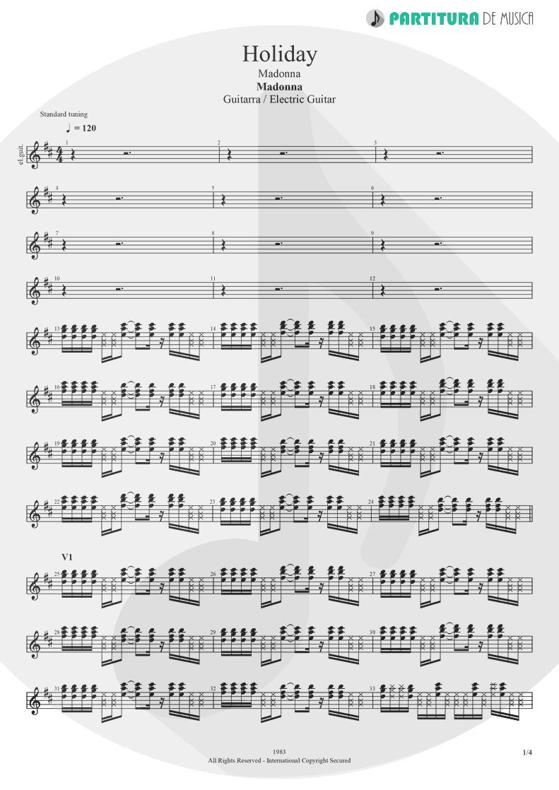 Partitura de musica de Guitarra Elétrica - Holiday | Madonna | Madonna 1983 - pag 1