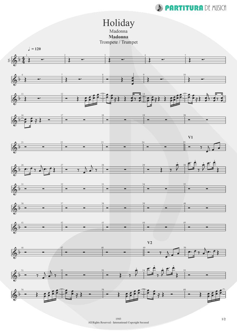 Partitura de musica de Trompete - Holiday | Madonna | Madonna 1983 - pag 1