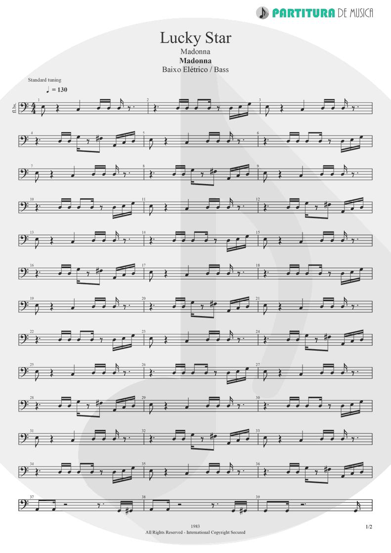Partitura de musica de Baixo Elétrico - Lucky Star | Madonna | Madonna 1983 - pag 1