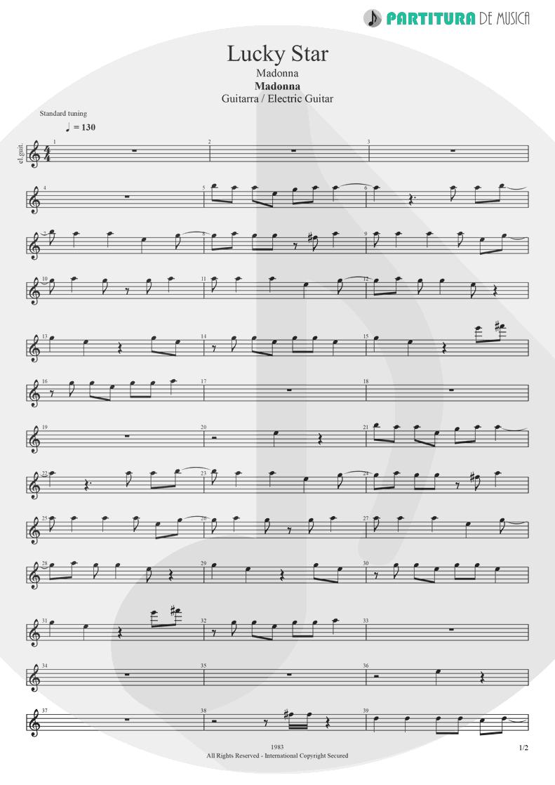 Partitura de musica de Guitarra Elétrica - Lucky Star | Madonna | Madonna 1983 - pag 1