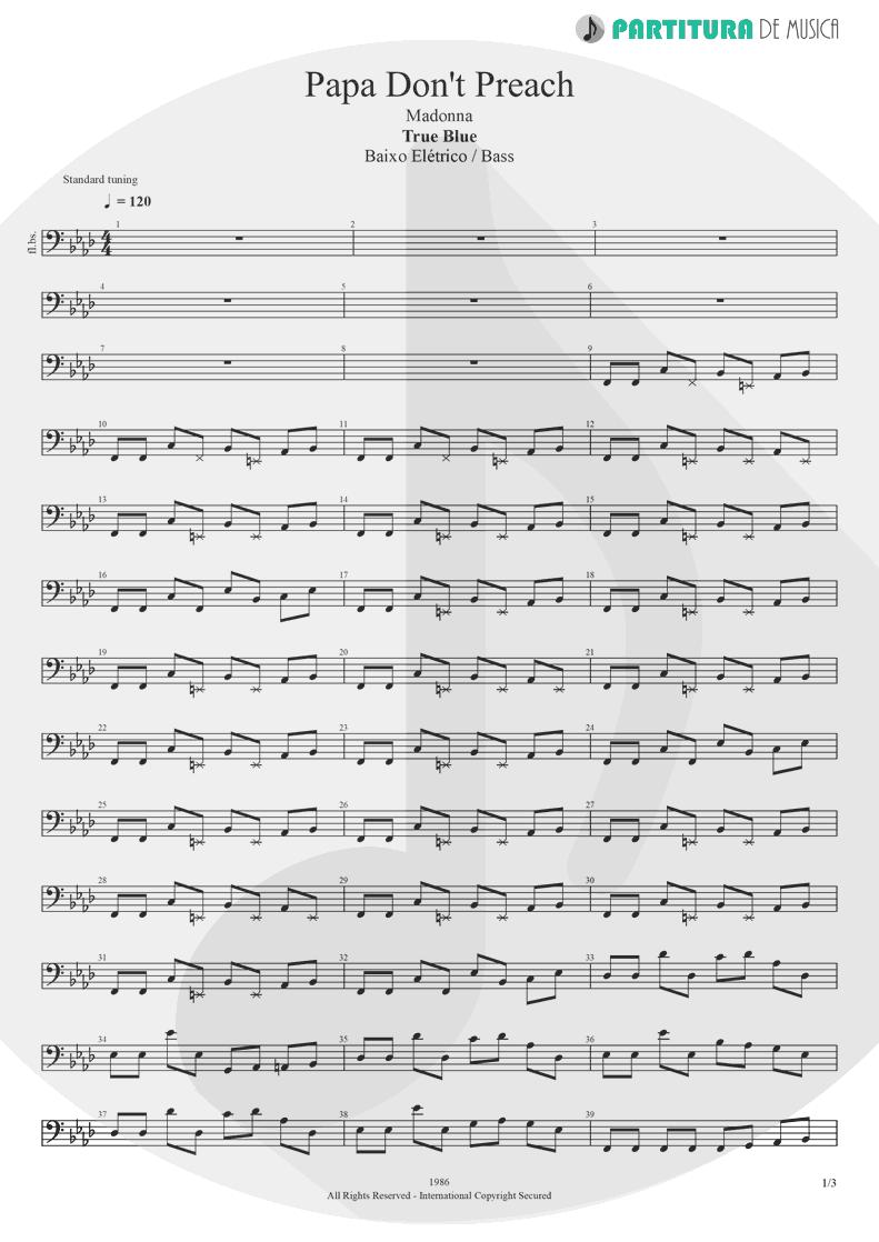 Partitura de musica de Baixo Elétrico - Papa Don't Preach | Madonna | True Blue 1986 - pag 1
