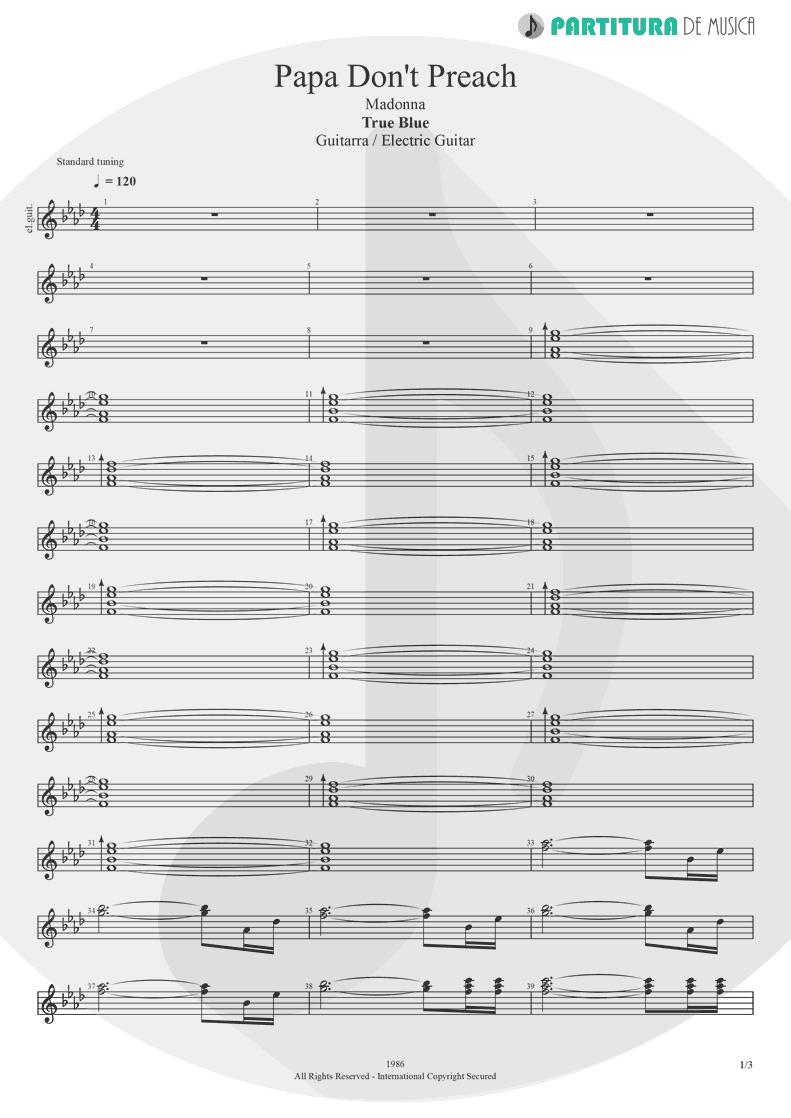 Partitura de musica de Guitarra Elétrica - Papa Don't Preach | Madonna | True Blue 1986 - pag 1
