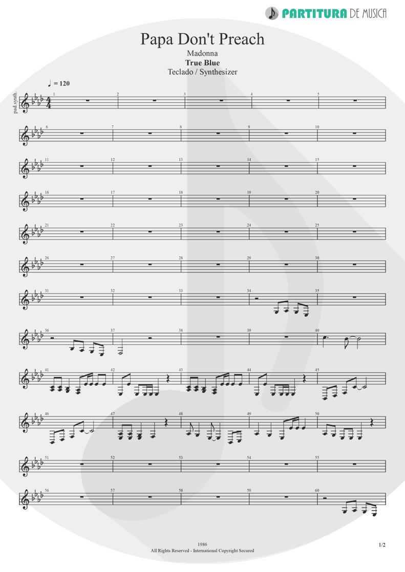 Partitura de musica de Teclado - Papa Don't Preach | Madonna | True Blue 1986 - pag 1