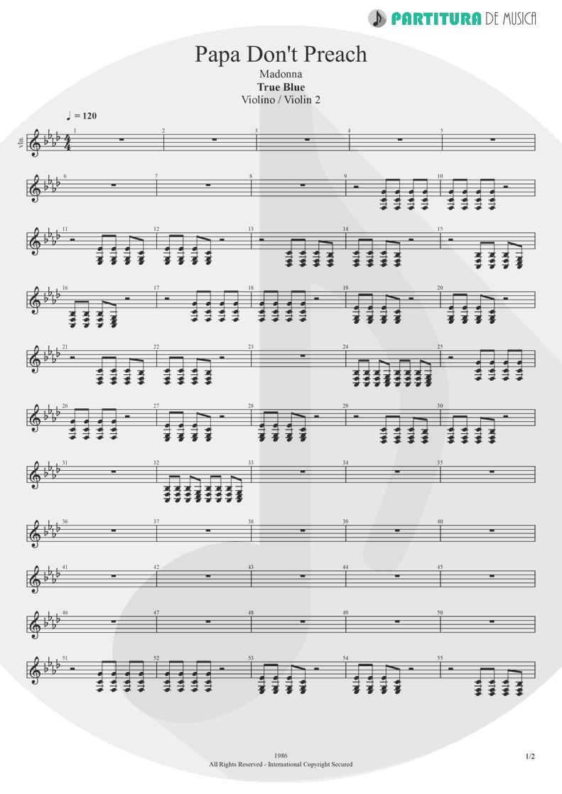 Partitura de musica de Violino - Papa Don't Preach | Madonna | True Blue 1986 - pag 1