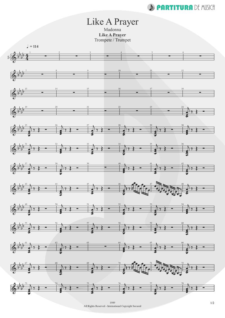 Partitura de musica de Trompete - Like A Prayer | Madonna | Like a Prayer 1989 - pag 1
