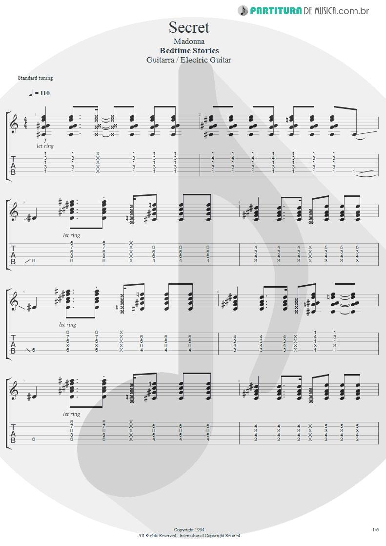 Tablatura + Partitura de musica de Guitarra Elétrica - Secret   Madonna   Bedtime Stories 1994 - pag 1