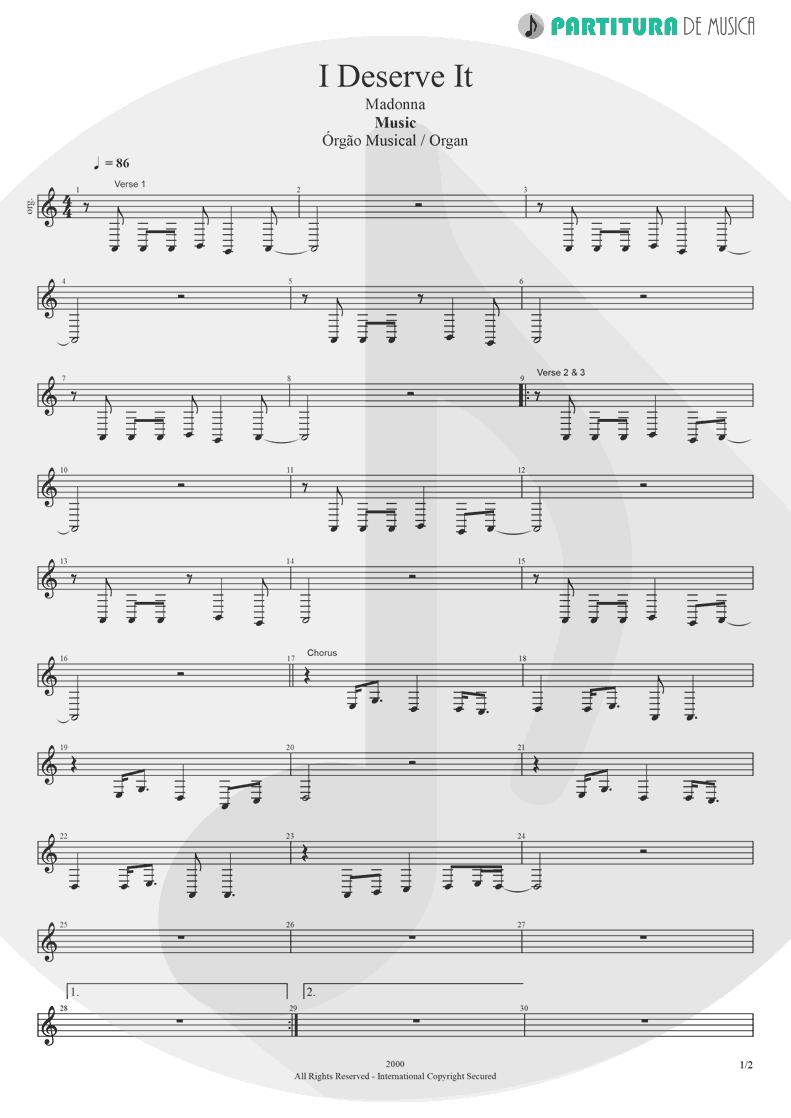 Partitura de musica de Órgão - I Deserve It | Madonna | Music 2000 - pag 1
