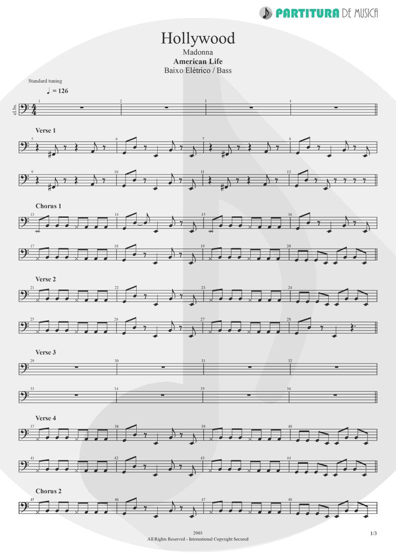 Partitura de musica de Baixo Elétrico - Hollywood | Madonna | American Life 2003 - pag 1