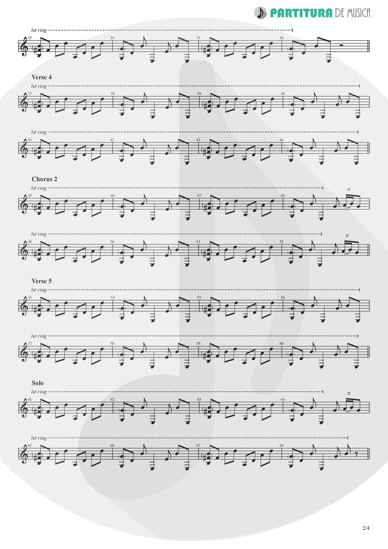 Partitura de musica de Guitarra Elétrica - Hollywood | Madonna | American Life 2003 - pag 2