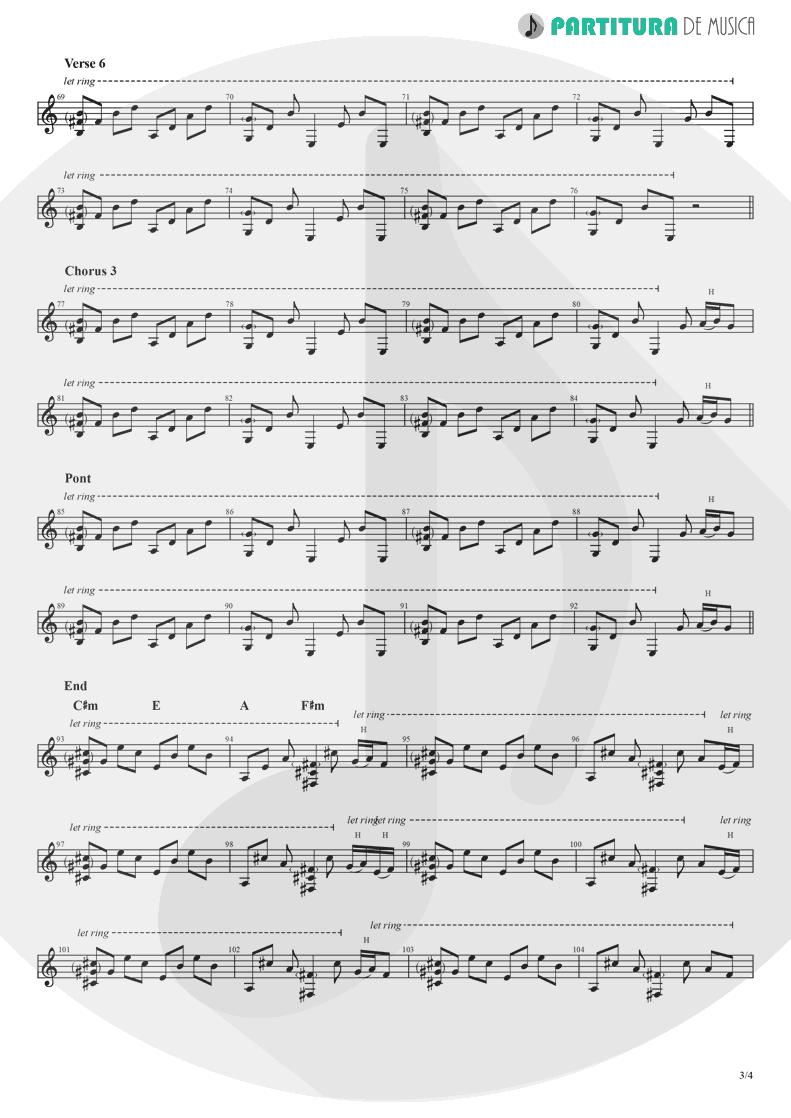 Partitura de musica de Guitarra Elétrica - Hollywood | Madonna | American Life 2003 - pag 3