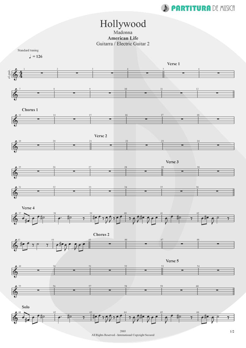 Partitura de musica de Guitarra Elétrica - Hollywood | Madonna | American Life 2003 - pag 1